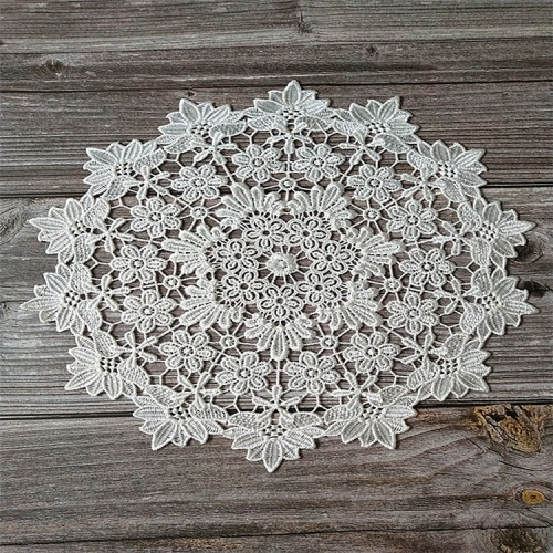 White lace embroidered placemat vase placemat placemat kitchen coffee table decorative pad Diameter 30cm (White)