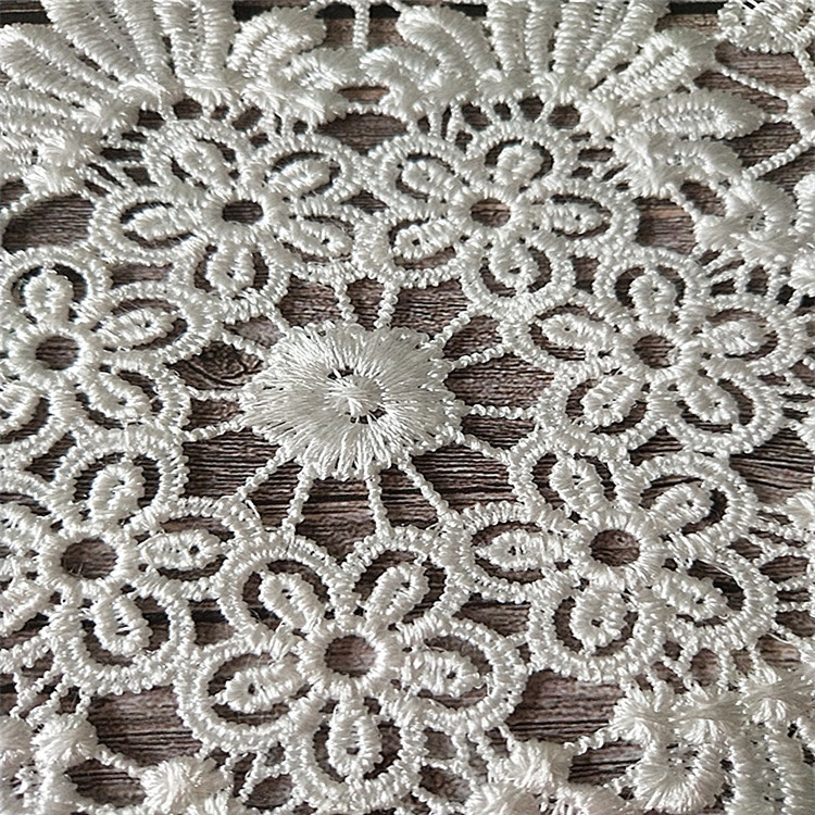 White lace embroidered placemat vase placemat placemat kitchen coffee table decorative pad Diameter 36cm (White)