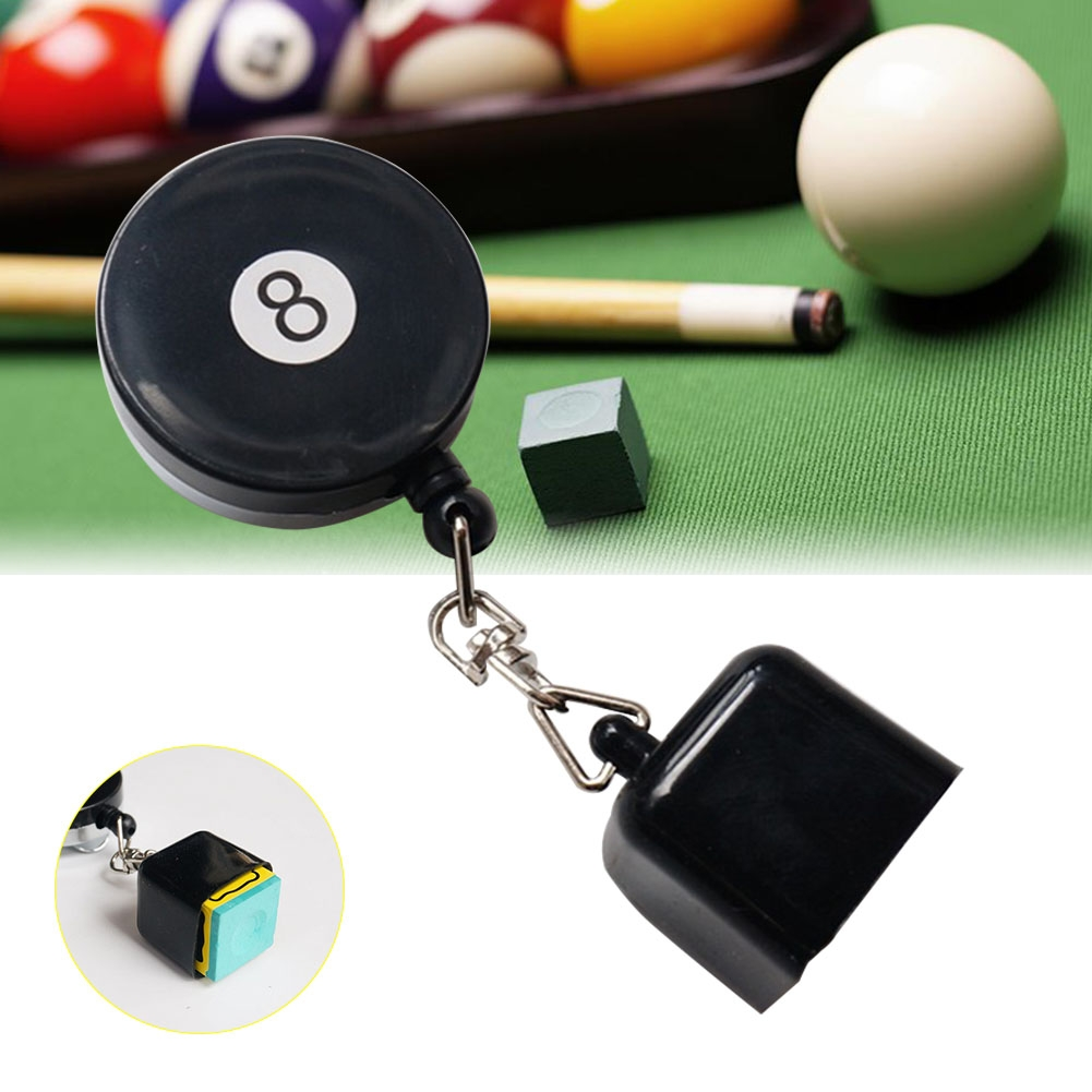 Retractable Stainless Steel Table Pocket Chalk Tip Holder Snooker Accessories (Black)