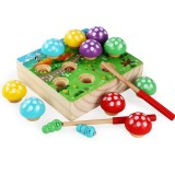 Early Childhood Education Magnetic Catcher Game Hand-eye Coordination Parent-child Table Area Wooden Toys (Wood Color)