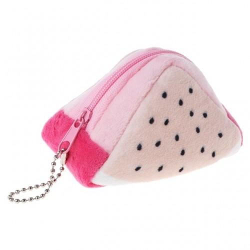 Triangle Plush Fruit Creative Three-dimensional Cute Children Change Bag Key Bag Gift (Dragon Fruit)