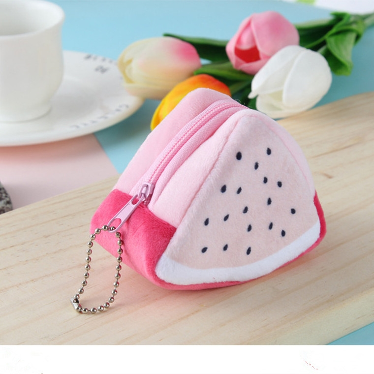 Triangle Plush Fruit Creative Three-dimensional Cute Children Change Bag Key Bag Gift (Kiwi)