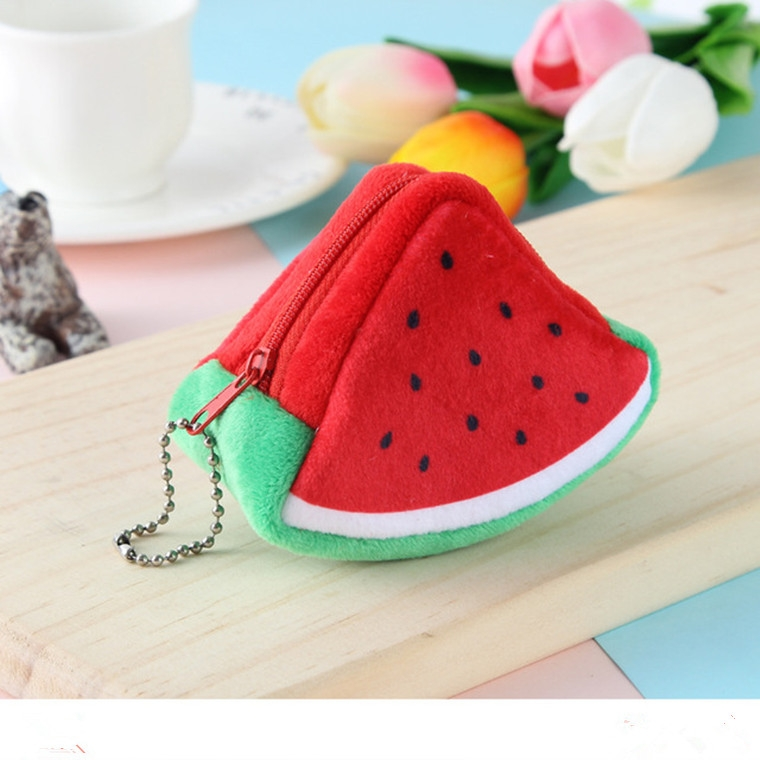 Triangle Plush Fruit Creative Three-dimensional Cute Children Change Bag Key Bag Gift (Watermelon)