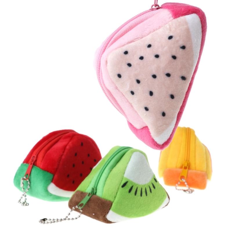 Triangle Plush Fruit Creative Three-dimensional Cute Children Change Bag Key Bag Gift (Orange)