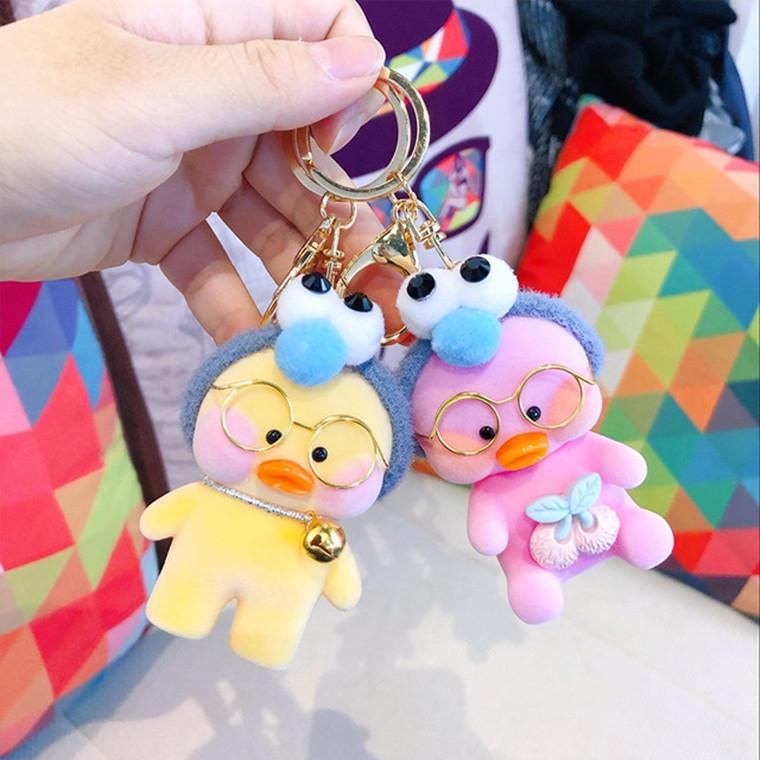 Creative Cartoon Hyaluronic Flocking Duck Doll Keychain Car Couple Key Chain Bag Pendant (C1-21)