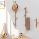 Bamboo Wood Wall Hanger Hook Coat Stand Clothes Hanger Stand Wall Hanging Bracket, Style: 3 Hooks (Natural Color)