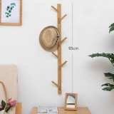 Bamboo Wood Wall Hanger Hook Coat Stand Clothes Hanger Stand Wall Hanging Bracket, Style: 11 Hooks (Natural Color)