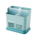 Kitchen Tabletop Candy Color Compartment Hollow Chopsticks Cage Creative Kitchen Cage Cutlery Drain Storage Chopsticks Rack, Number of layers: Four grids of blue