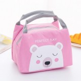 Portable Student Lunch Outdoor Portable Insulation Child Cute Student Lunch Box Bag (Little white Bear)