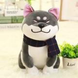 Couple Scarf Shiba Inu Dog Plush Toy, Color: Gray, Size: 25cm