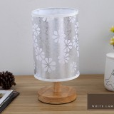Nordic Wood LED Table Light Bedroom Bedside Table Lamp Reading Desk Lamp Living Room Learning Desk Light, Size: Button Switch (Snowflake)