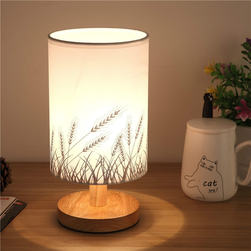 Nordic Wood Led Table Light Bedroom Bedside Table Lamp Reading Desk Lamp Living Room Learning Desk Light Size Button Switch Wheat Alexnld Com