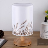 Nordic Wood LED Table Light Bedroom Bedside Table Lamp Reading Desk Lamp Living Room Learning Desk Light, Size: Button Switch (Wheat)