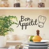 Kitchen Decoration Kitchen Stickers Bon Appetit Wall Stickers DIY Vinyl Art Wallpapers (Black)