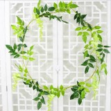 Artificial Flowers Vine Garland Wedding Arch Decoration Fake Plants Leaf Vine (Green)
