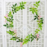 Artificial Flowers Vine Garland Wedding Arch Decoration Fake Plants Leaf Vine (Pink)