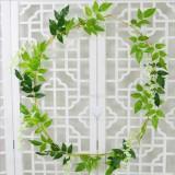 Artificial Flowers Vine Garland Wedding Arch Decoration Fake Plants Leaf Vine (White)