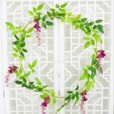 Artificial Flowers Vine Garland Wedding Arch Decoration Fake Plants Leaf Vine (Red Purple)