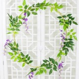 Artificial Flowers Vine Garland Wedding Arch Decoration Fake Plants Leaf Vine (Purple)