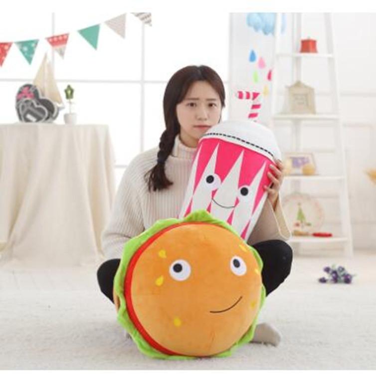 Simulation Milk Tea Hamburger Pillow Plush Doll Funny Birthday Gift, Size: 50cm (Milk Tea)