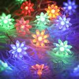 Solar 20 LEDs Double Lotus Festival String Light Wedding Holiday Garden Decoration Lantern (Colorful Light)