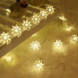 Solar 20 LEDs Double Lotus Festival String Light Wedding Holiday Garden Decoration Lantern (Warm White Light)