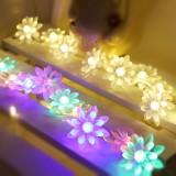 Solar 20 LEDs Double Lotus Festival String Light Wedding Holiday Garden Decoration Lantern (White Light)
