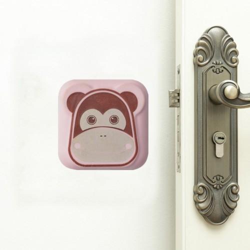 10 PCS Mute Crash Pad Cartoon Thickened Wall Door Shock Pad (Pink Monkey)