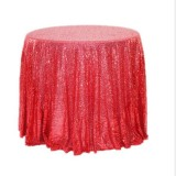 2 PCS Round Table Decoration Cloth Hotel Wedding Banquet Decoration Embroidered Sequin Tablecloth, Size: 60cm (Big red)