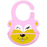 Detachable Children Cartoon Bib Drool Food Bib Baby Eating Silicone Waterproof Bib (Silicone Pink Rabbit)