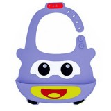 Detachable Children Cartoon Bib Drool Food Bib Baby Eating Silicone Waterproof Bib (Silicone Purple Taxi)