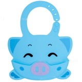 Detachable Children Cartoon Bib Drool Food Bib Baby Eating Silicone Waterproof Bib (Silicone Sky Blue Piglet)
