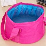 Portable Outdoor 600D Oxford Cloth Fishing Water Basin Travel Camping Washbasin Bucket Sink Bag, Color: Pink