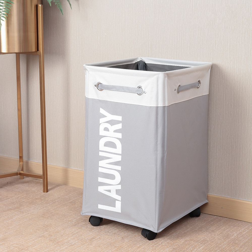 Bathroom Oxford Waterproof Dirty Clothes Laundry Foldable Storage Basket Hamper With Wheels Beige Light Grey Alexnld Com