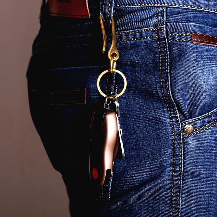 Retro Solid Brass Key Chain Key Ring Belt U Hook Wallet Chain Fish Hook, Length: 4.8cm with Copper Rin (Brass)