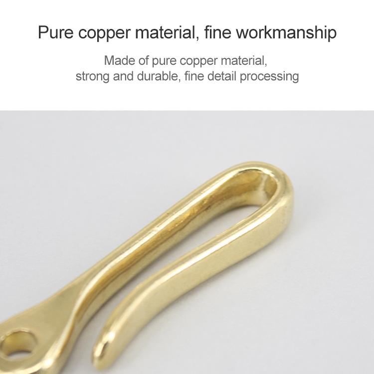 Retro Solid Brass Key Chain Key Ring Belt U Hook Wallet Chain Fish Hook, Length: 6cm with Copper Rin (Brass)