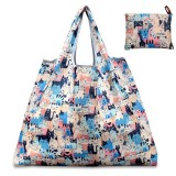 Printing Pattern Lady Foldable Oxford Cloth Shopping Bag Reusable Fruit Grocery Pouch Recycle Organization Bag (Pink Cat)