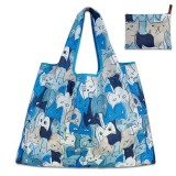 Printing Pattern Lady Foldable Oxford Cloth Shopping Bag Reusable Fruit Grocery Pouch Recycle Organization Bag (Blue Cat)