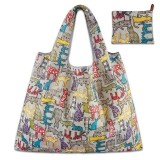 Printing Pattern Lady Foldable Oxford Cloth Shopping Bag Reusable Fruit Grocery Pouch Recycle Organization Bag (Yellow Cat)