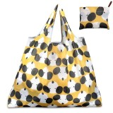 Printing Pattern Lady Foldable Oxford Cloth Shopping Bag Reusable Fruit Grocery Pouch Recycle Organization Bag (Yellow Dog)