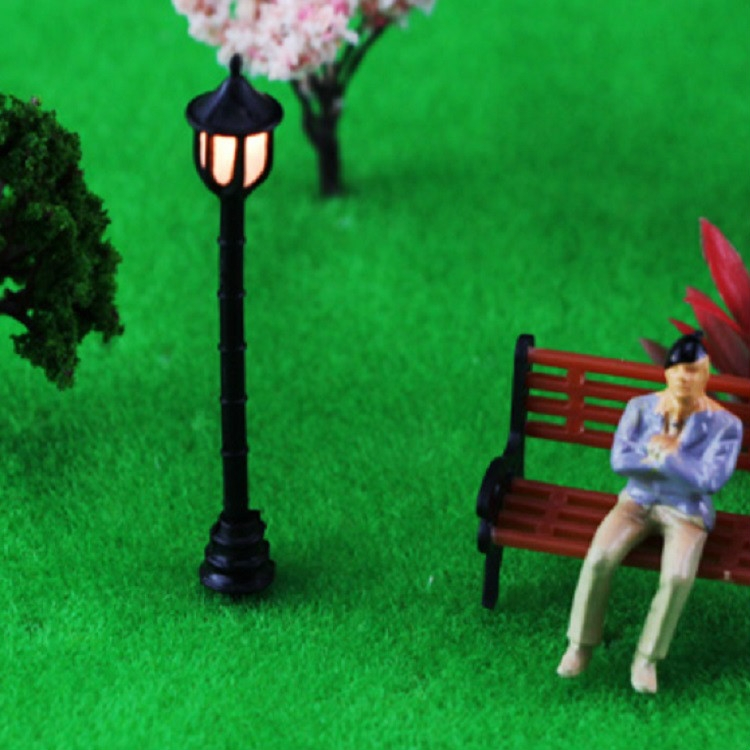 2 PCS Garden Miniature Mini Street Light Sand Table Single Head Light Street Lamp Model, Specification: Wavy-shaped