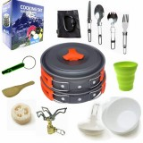Camping cookware Outdoor cookware set (Orange)