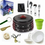Camping cookware Outdoor cookware set (Red)
