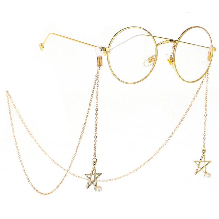 2 PCS Non-slip Metal Glasses Pendant with Pearl Pendant Glasses Chain (Gold)