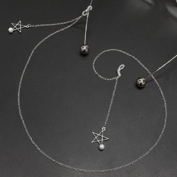 2 PCS Non-slip Metal Glasses Pendant with Pearl Pendant Glasses Chain (Silver)
