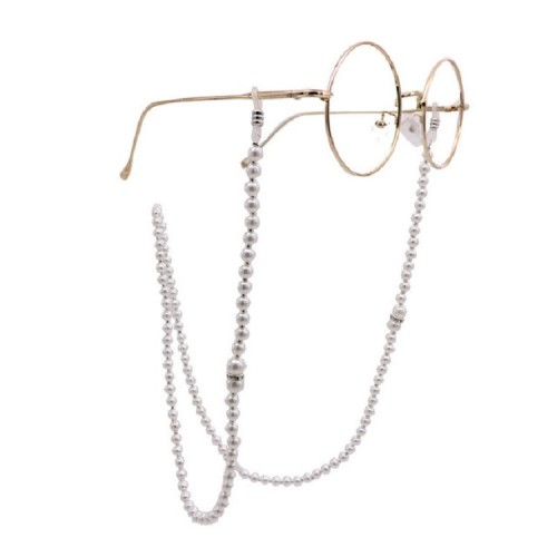 2 PCS Pearl Glasses Chain Anti-slip Artificial Pearl Chain Glasses Rope