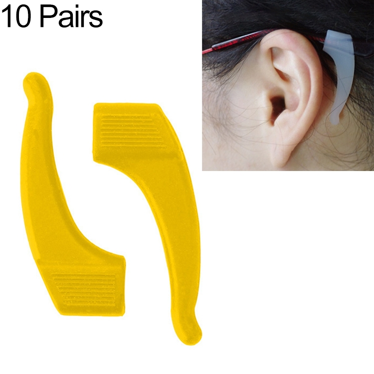 10 Pairs Glasses Non-slip Cover Ear Support Glasses Foot Silicone Non-slip Sleeve (Yellow)