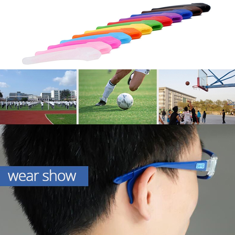 10 Pairs Glasses Non-slip Cover Ear Support Glasses Foot Silicone Non-slip Sleeve (Dark Blue)