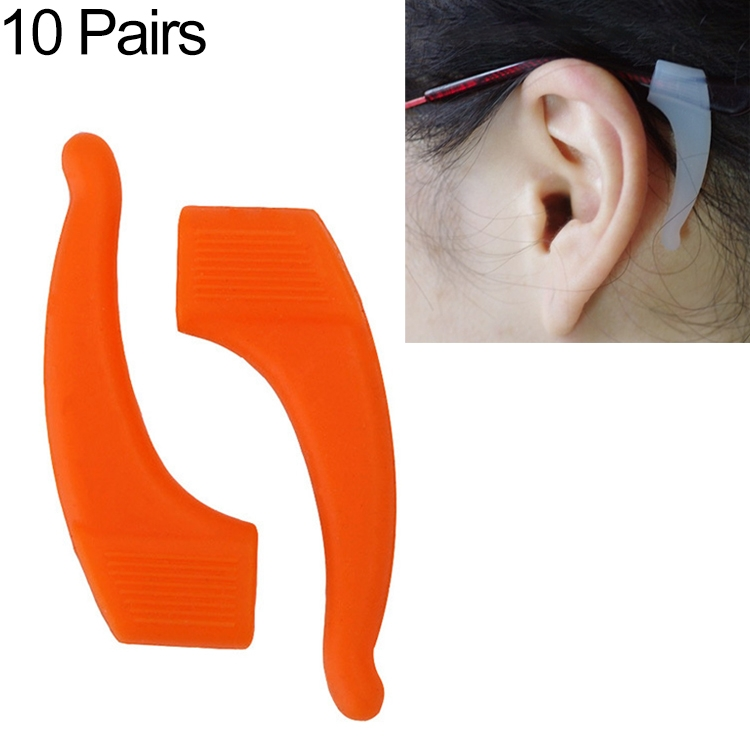 10 Pairs Glasses Non-slip Cover Ear Support Glasses Foot Silicone Non-slip Sleeve (Orange)