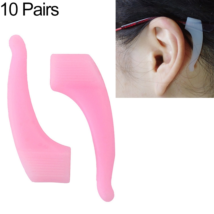 10 Pairs Glasses Non-slip Cover Ear Support Glasses Foot Silicone Non-slip Sleeve (Pink)